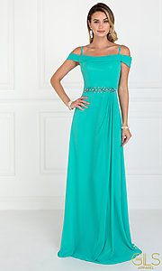 Image of long off-shoulder chiffon prom dress with cowl back. Style: FB-GL1522 Detail Image 3