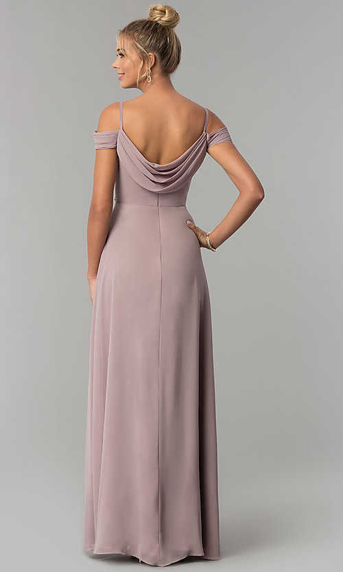 Image of long off-shoulder chiffon prom dress with cowl back. Style: FB-GL1522 Back Image