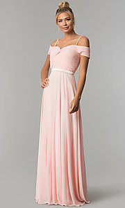 Image of long off-the-shoulder prom dress with ruched bodice. Style: FB-GL1523 Detail Image 1