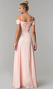 Image of long off-the-shoulder prom dress with ruched bodice. Style: FB-GL1523 Back Image