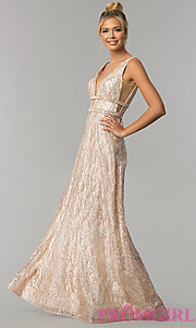 Image of long glitter v-neck prom dress with beaded bands. Style: FB-GL1575 Detail Image 1