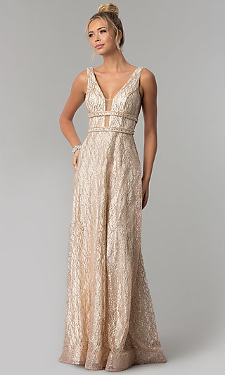 Long Glitter V-Neck Prom Dress with Beaded Bands