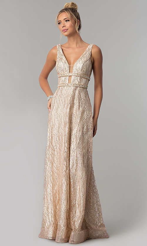Image of long glitter v-neck prom dress with beaded bands. Style: FB-GL1575 Front Image
