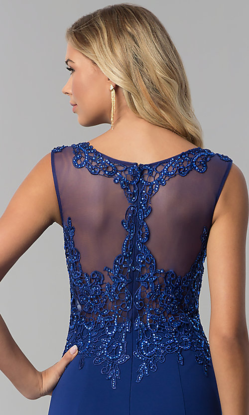 Image of long embroidered-bodice royal blue prom dress. Style: FB-GL1411 Detail Image 2