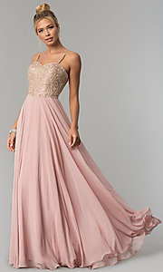 Image of chiffon prom dress with embellished-lace bodice. Style: FB-GL1571 Front Image