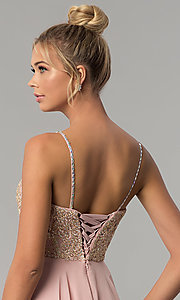 Image of chiffon prom dress with embellished-lace bodice. Style: FB-GL1571 Detail Image 2