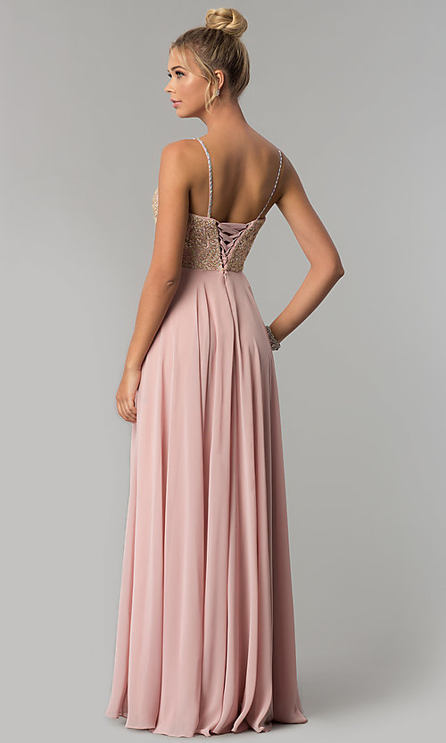 Image of chiffon prom dress with embellished-lace bodice. Style: FB-GL1571 Back Image