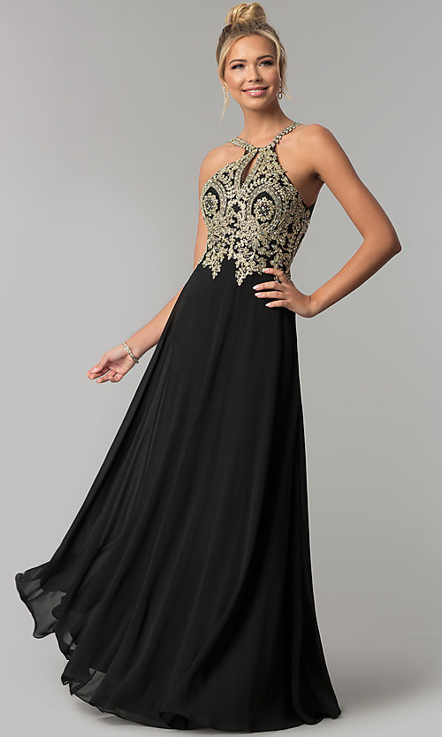 Image of chiffon long high-neck prom dress with deep v-back. Style: FB-GL1526 Detail Image 1