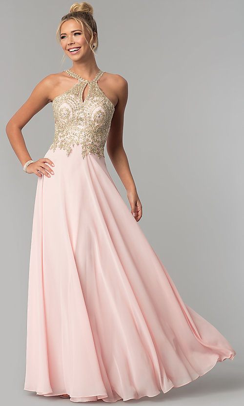 Image of chiffon long high-neck prom dress with deep v-back. Style: FB-GL1526 Detail Image 2