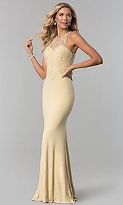 Image of illusion-bodice high-neck long prom dress. Style: FB-GL1507 Detail Image 1