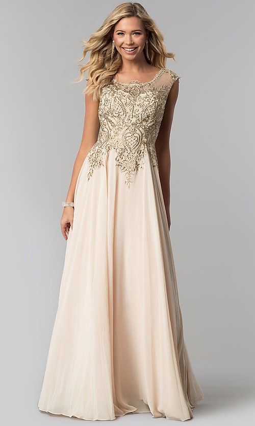 Image of long chiffon formal prom dress with gold embroidery. Style: FB-GL2407 Front Image
