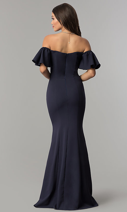 Image of long off-the-shoulder mermaid prom dress. Style: LP-27335 Back Image