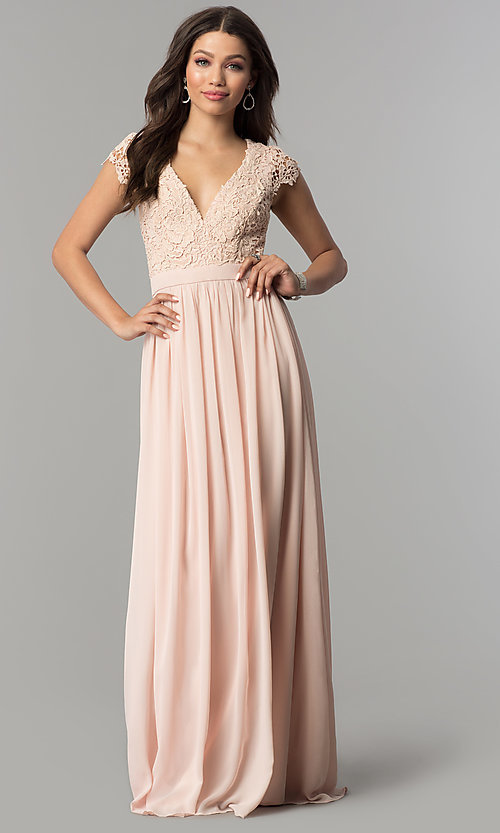 Image of long open-back chiffon prom dress with cap sleeves. Style: LP-25067 Front Image