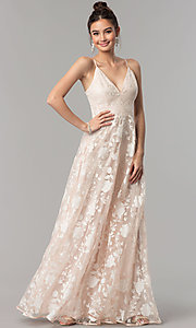 Image of print organza long v-neck prom dress in blush pink. Style: LP-27509 Front Image