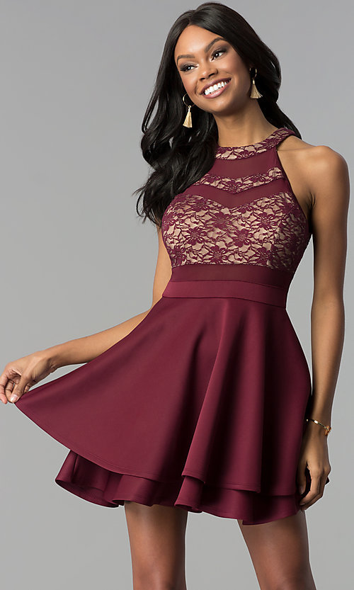Image of wine red tiered-skirt lace-bodice short party dress. Style: EM-FLD-1000-559 Front Image
