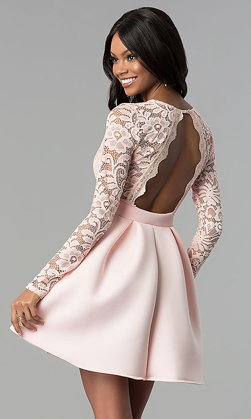 Image of lace and scuba long-sleeve v-neck homecoming dress. Style: DC-D46036 Back Image