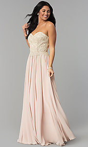 Image of long strapless sweetheart corset-back prom dress. Style: NA-B045 Front Image