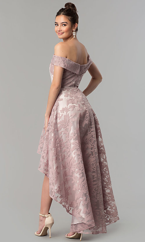 Image of high-low off-the-shoulder prom dress by PromGirl Style: LP-PL-25467 Back Image