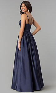 Image of long prom dress with rhinestone-trimmed pockets. Style: PO-8272 Back Image