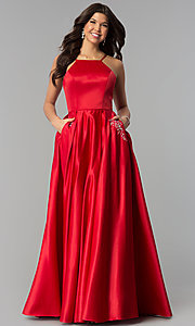 Image of long prom dress with rhinestone-trimmed pockets. Style: PO-8272 Detail Image 2