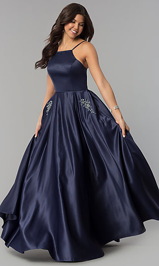 Long Prom Dress with Rhinestone-Trimmed Pockets