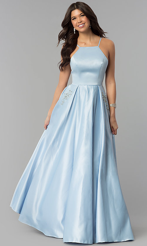 Image of long prom dress with rhinestone-trimmed pockets. Style: PO-8272 Detail Image 1