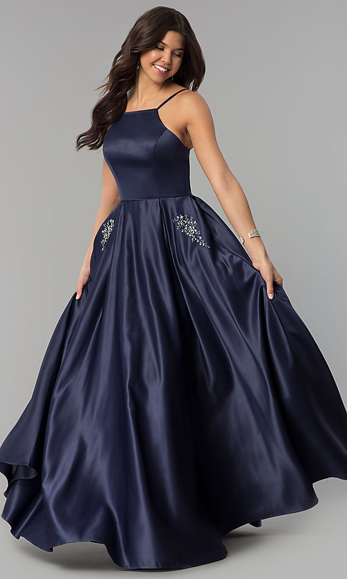 Image of long prom dress with rhinestone-trimmed pockets. Style: PO-8272 Front Image