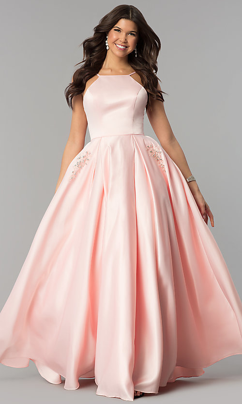 Image of long prom dress with rhinestone-trimmed pockets. Style: PO-8272 Detail Image 3