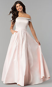 Image of long satin off-the-shoulder prom dress. Style: PO-8242 Detail Image 3