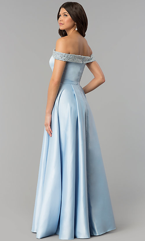 Image of long satin off-the-shoulder prom dress. Style: PO-8242 Back Image