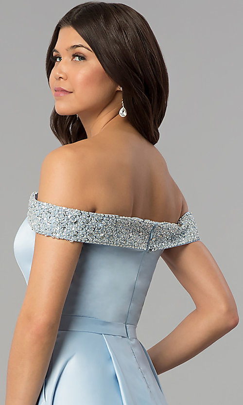 Image of long satin off-the-shoulder prom dress. Style: PO-8242 Detail Image 2