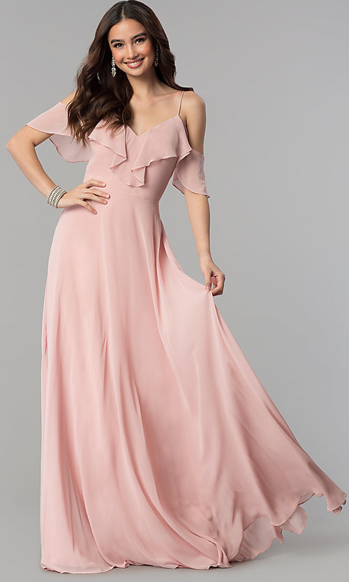 Image of long chiffon prom dress with off-shoulder flounce. Style: JT-671 Detail Image 1