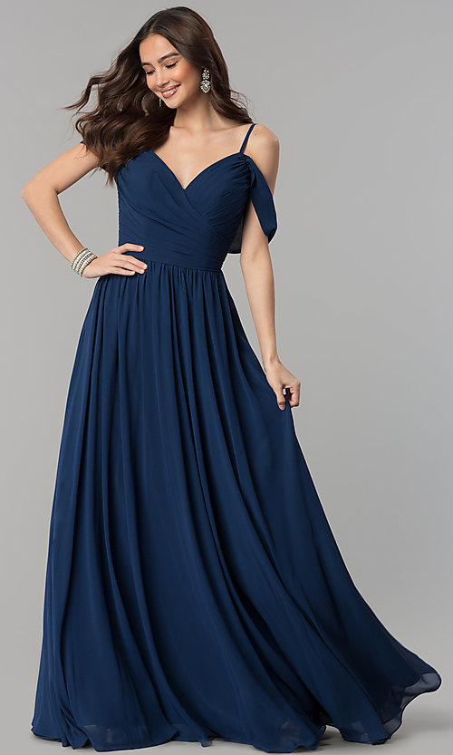 Image of long chiffon cold-shoulder ruched-bodice prom dress. Style: JT-676 Front Image