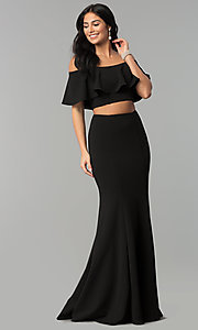 Image of long two-piece off-shoulder prom dress with flounce. Style: DQ-2342 Detail Image 2