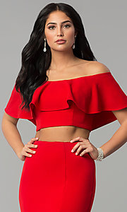 Image of long two-piece off-shoulder prom dress with flounce. Style: DQ-2342 Detail Image 1