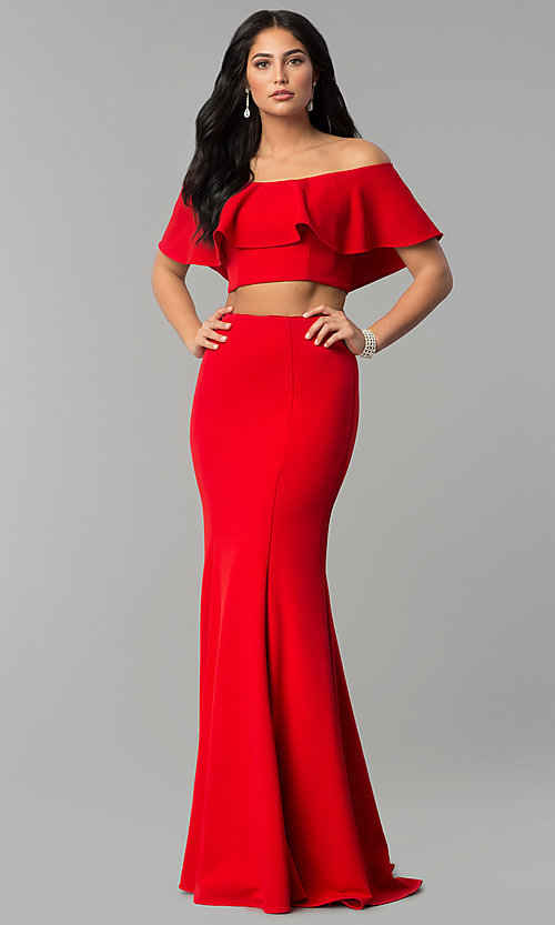 Image of long two-piece off-shoulder prom dress with flounce. Style: DQ-2342 Front Image