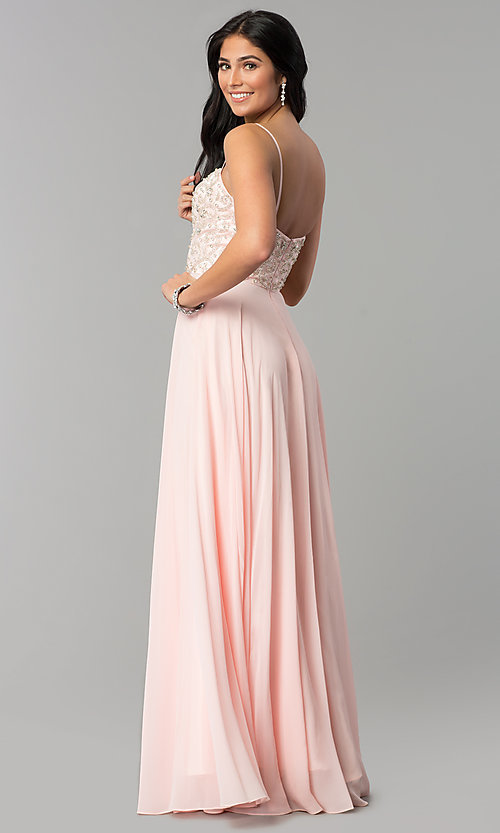 Image of long sweetheart evening dress with beaded bodice. Style: DQ-2503 Back Image