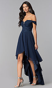 Image of high-low off-shoulder chiffon prom dress with lace. Style: DQ-2278 Detail Image 2