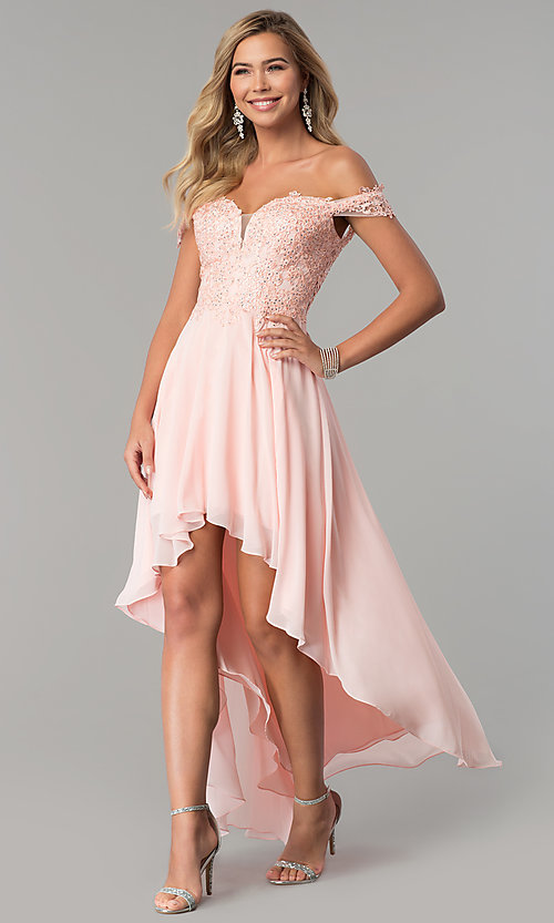 Image of high-low off-shoulder chiffon prom dress with lace. Style: DQ-2278 Detail Image 3