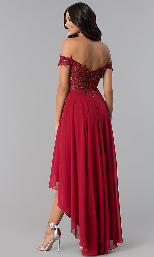 Image of high-low off-shoulder chiffon prom dress with lace. Style: DQ-2278 Back Image
