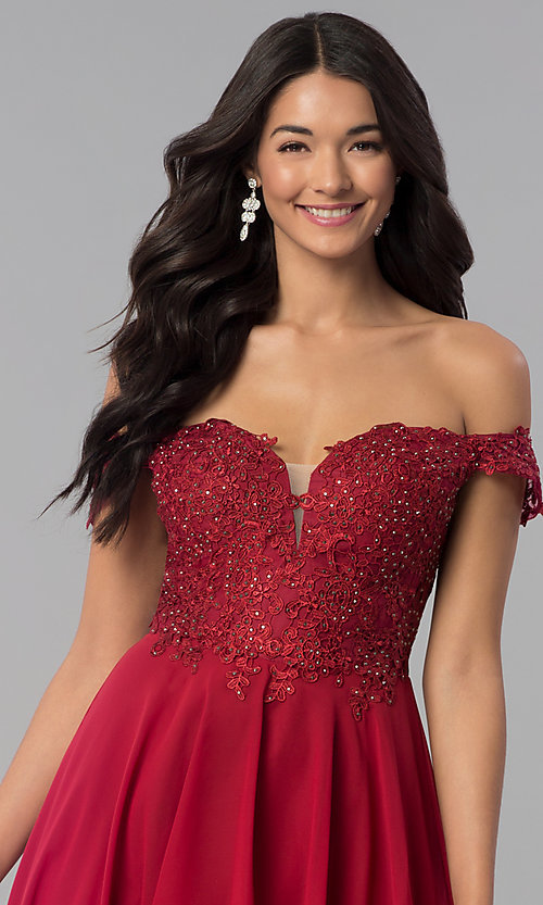 Image of high-low off-shoulder chiffon prom dress with lace. Style: DQ-2278 Detail Image 1