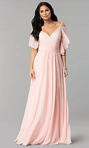 Image of v-neck long chiffon cold-shoulder prom dress. Style: DQ-2343 Front Image