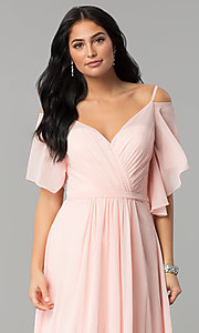 Image of v-neck long chiffon cold-shoulder prom dress. Style: DQ-2343 Detail Image 1