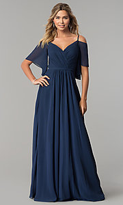Image of v-neck long chiffon cold-shoulder prom dress. Style: DQ-2343 Detail Image 3