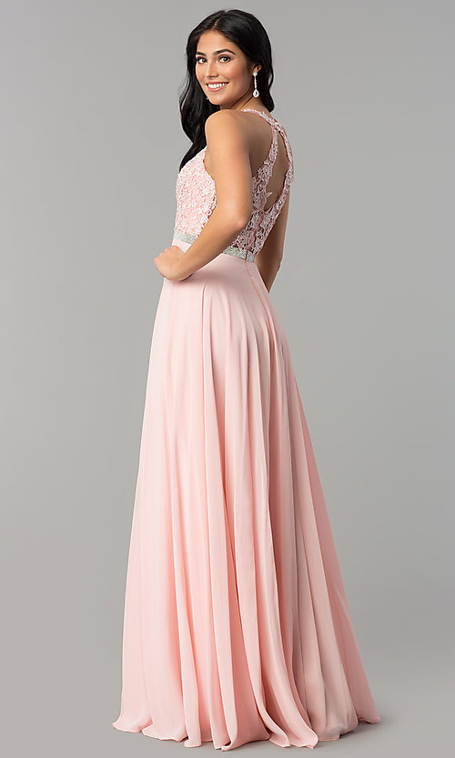 Image of v-neck embroidered-bodice long chiffon prom dress. Style: DQ-2332 Back Image