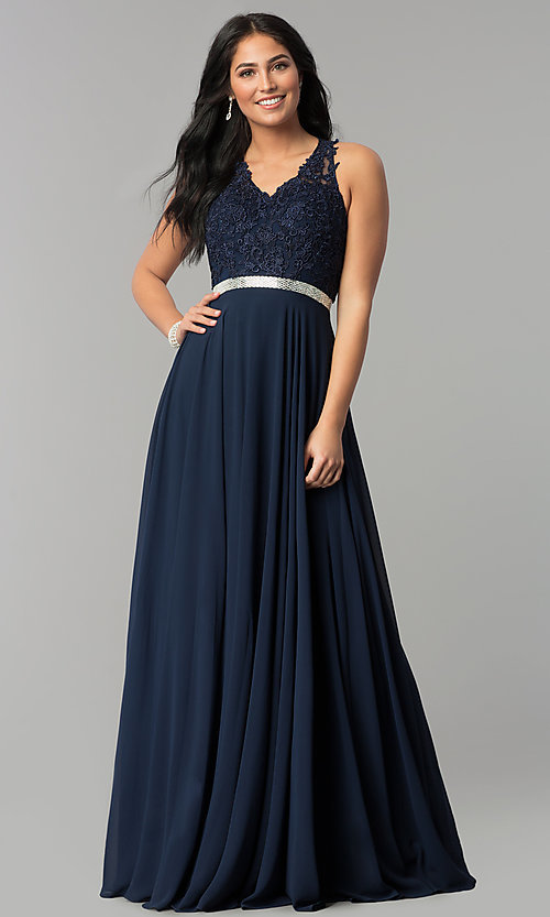 Image of v-neck embroidered-bodice long chiffon prom dress. Style: DQ-2332 Front Image