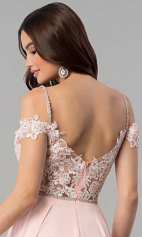 Image of long cold-shoulder chiffon prom dress with lace. Style: DQ-2327 Detail Image 2