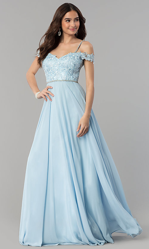 Image of long cold-shoulder chiffon prom dress with lace. Style: DQ-2327 Detail Image 3