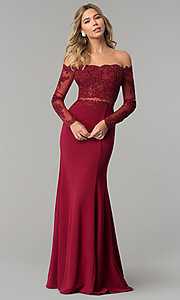 Image of long off-the-shoulder prom dress with long sleeves. Style: DQ-2275 Detail Image 2