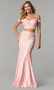 Image of off-the-shoulder lace two-piece long prom dress. Style: DQ-2299 Detail Image 2